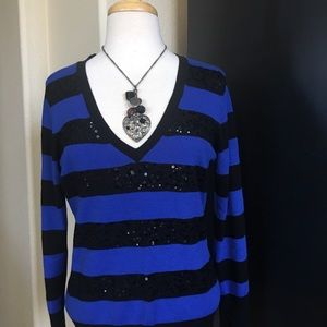 Blue and BlackSequence Horizontal striped sweater